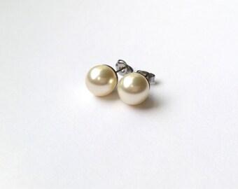 Creamrose Swarovski Pearl Earrings 9mm hypoallergenic surgical steel earrings studs earrings pearl jewelry