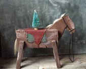Nursery Pony Decor: Vintage Folk Art Horse Sculpture, Contemporary Found Object Assemblage Art, Rustic Primitive Sculpture, Home Decor