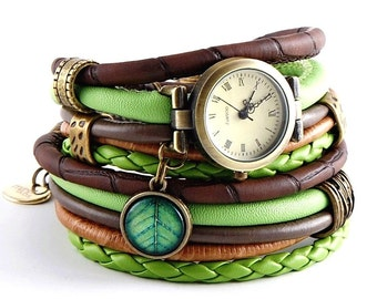 bracelet and a watch, cuff, stylish watch, green and brown with e leaf