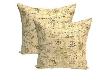 "Set of 2 Pillow Covers - 17"" ~ Tommy Bahama Tan Nautical Map ~ Decorative Pillow Covers"