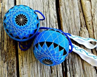 Electric Blue Lotus Flower Poi, Temari Poi Flow Toys, Spinning Flow Arts Poi Balls, Burning Man Festival Gear Flow Fire Poi Flower Pois Blue