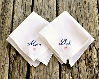 Wedding Day Handkerchief Set for Mom and Dad, Wedding Hankies for Parents, Hand Embroidered Mom and Dad Hankerchiefs, Wedding Pocket Squares