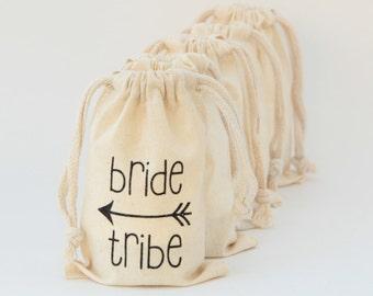 Bride Tribe wedding favor muslin bag, bachellorette party, gift wrap, drawstring bag, survival kit, party favor, welcome bag, thank you gift