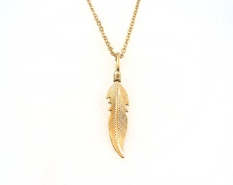 Gold feather necklace. Feather pendant necklace. Hobo necklace, gold necklace. indian necklace, gift for mom