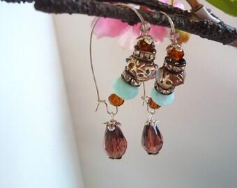 boucles d'oreilles, czech glass earring,boucles d'oreilles asiatiques, chinese earring,  , boho chic earring, lampwork earring,