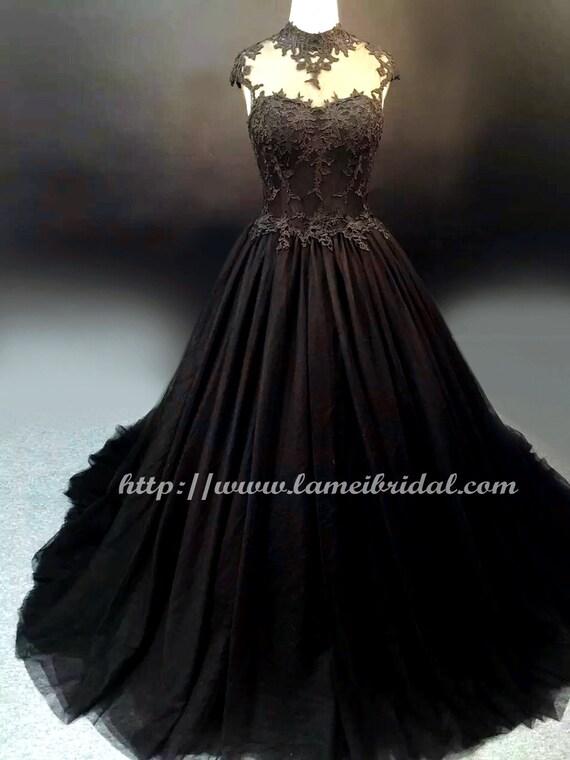 Goth style black lace high neck wedding bridal dress ball for Gothic style wedding dresses