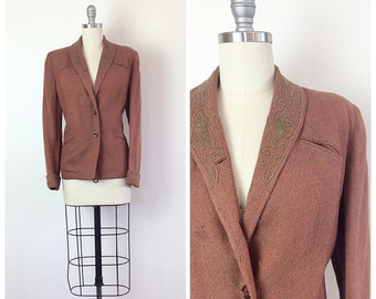 40s Rust Orange / Brown Blazer - 1940s Vintage Embroidered Suit Jacket - Large - Size 10
