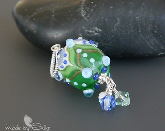 Lampwork bead pendant  |  Sterling Silver |  made by silke  |  artisan glass  |  SRA  |  OOAK  |  Spring Memories