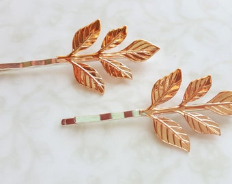 Rose Gold Leaf Branch Bobby Pins, Hair Pins, Woodland Rustic Nature Garden Wedding Hair Bridal Party Bridesmaids