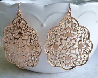 Rose Gold Lace Filigree Earrings, Lightweight Large Dangle, Romantic Wedding Bridal Jewelry, Boho, Bridesmaid Gift