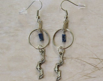 Footprints Hoop Earrings with Lapis Lazuli Accent *footprints poem,for mothers,Christian,women fashion,simple jewelry,for her,eternal love