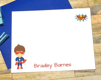 Personalized Super Hero Stationery - Boys Superhero Cards -Boys Note Cards - Thank You - Personalized Cards - Super Hero Cape Mask DM193