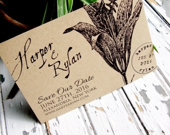 Botanical Save the Date Postcard, Rustic Save the Date, Postcard Save the Date, Kraft Paper Save the Date, Botanic Wedding, Lily, Vintage