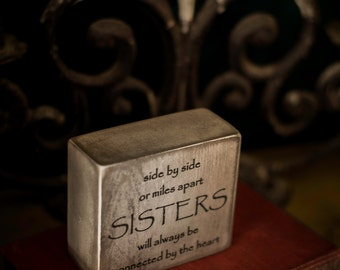 Sister gift, sisters, office decor, home decor, quote block, distressed black, aged white, inspirational quote, desk sign, wooden sign,