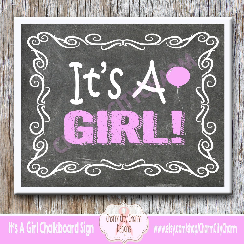 It's A Girl Chalkboard Sign It's A Girl Gender Reveal