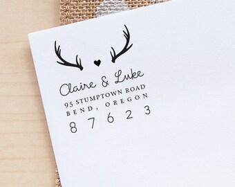 Personalized Return Address stamp Antlers Address Stamp Wedding Invitation stamp rustic wedding stamp wedding stationery eco rubber stamp