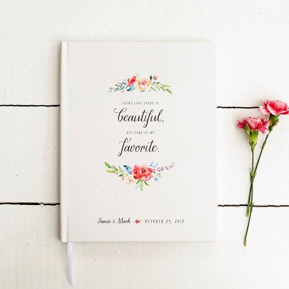 Floral Wedding Guest Book custom guestbook personalized wedding book sign in book rustic wedding Guestbook love story flower keepsake rustic