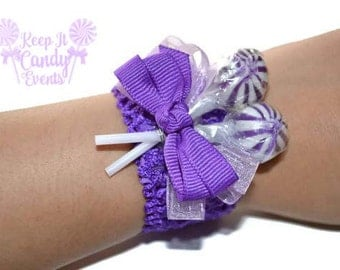 Childrens Purple Lollipop Wrist Corsage, Lollipop Corsage, Kids Candy Corsage, Prom Purple, Homecoming, Non Floral Wedding Ideas, Candy