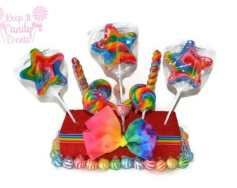 Rainbow Star Lollipop Centerpiece, Rainbow Candy Centerpiece, Rainbow Candy Buffet, Carnival Lollipop Centerpiece, Circus Birthday Party