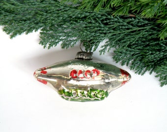 Airship Soviet Christmas tree decoration Glass Christmas Ornaments Steampunk Silver red Air Balloon Dirigible zeppelin Soviet space 1950s