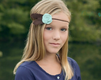 Boho Feather Headband - Felt Flower Feather Headband - Rose Feather Headband - Felt Feather - Turquoise & Brown - Headbands for Girls