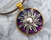 Princess Rapunzel Inspired Glitter Sun Charm Necklace