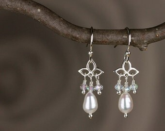 Pearl Earrings with Crystals - Trillium Small Drop Earrings in Sterling Silver with Crystals and Natural Freshwater Pearls - 00246
