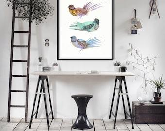 Bird art print from original watercolour painting by Annemette Klit. Modern minimalist bird giclee print. Nordic watercolor bird wall art.