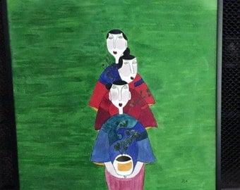 Original Watercolor Painting, Three Sisters, 12 1/2 by 12 1/2, Framed, Folk Art