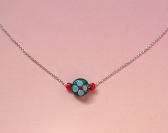 Blue Red Flower Necklace