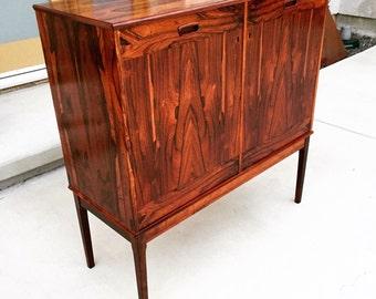 Mid Century Danish Modern Brazilian Rosewood Media Storage Cabinet