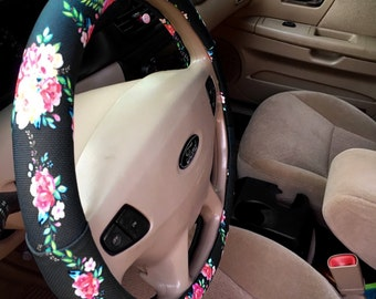 Floral Monogrammed Steering Wheel Cover Classy Black Padded Insulated Custom Steering Wheel Cover Flowers Cute Car Accessories For Women