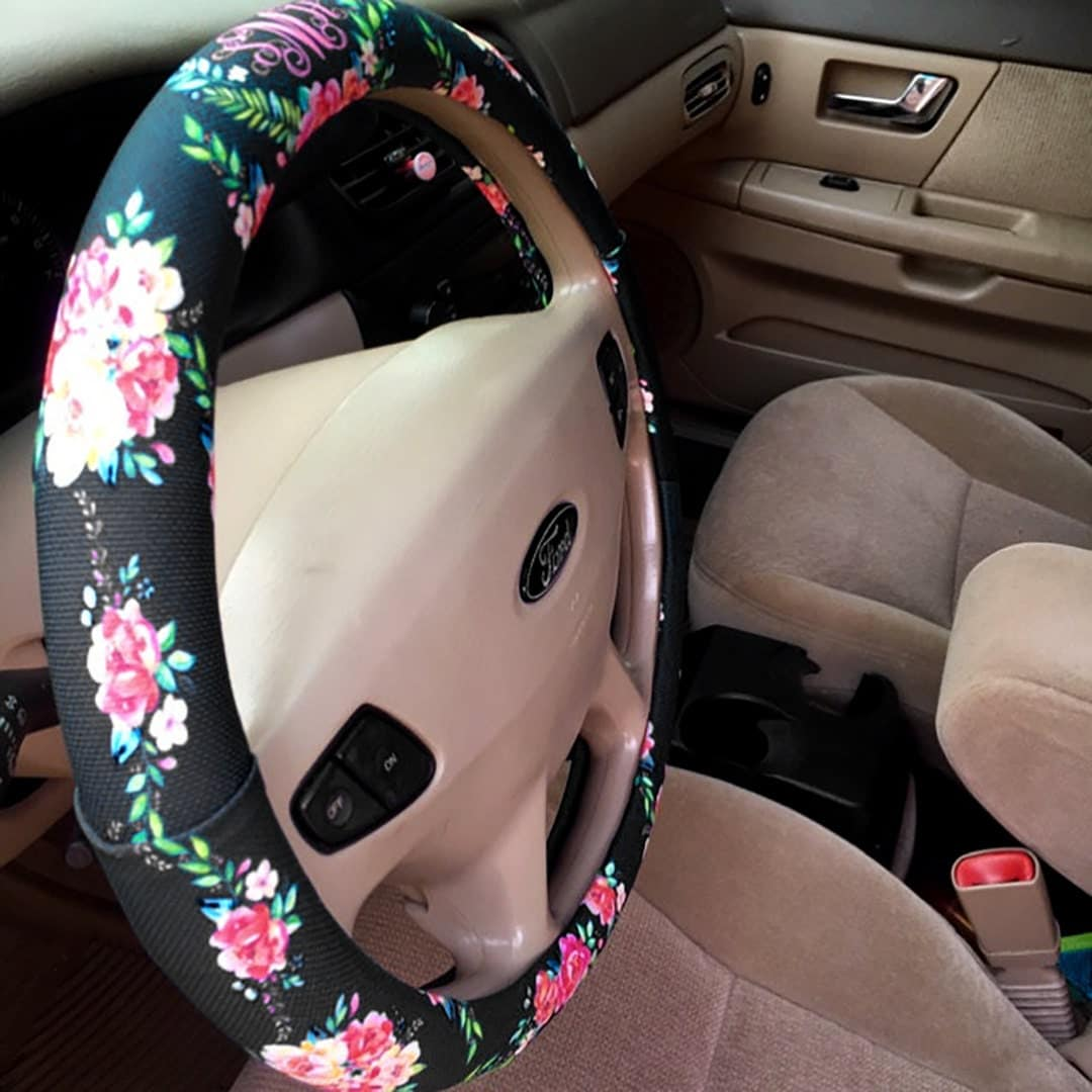 floral monogrammed steering wheel cover classy black padded. Black Bedroom Furniture Sets. Home Design Ideas