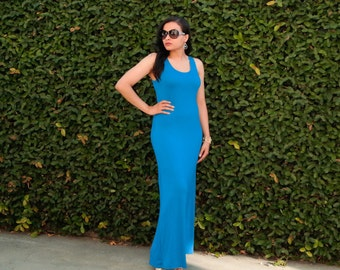 Sleeveless Maxi Dress - Long Dress - Plus Size Dress - Scoop Neck Dress - Tank Sleeveless Dress - Loose Dress - Petite Dress  Tall Clothing