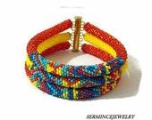 Holiday Discounts - 3 Strand bead crochet bracelets - Free shipping - Bracelet - Bead crochet Bracelet - Beaded crochet Bracelet
