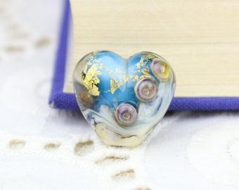 Teal Blue Heart Bead, Blue Lampwork Glass Focal Bead, Gold Foil Metallic Bumpy Lampwork, 19mm, Grace Lampwork Beads, Artisan D