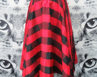80s does 50s Red Plaid Circle Skirt with Belt by F. A. Chatta / S / M