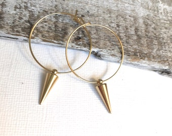 Gold Hoop Spike Earrings, Gold Spike Earrings, Gold Hoop Earrings, Silver Hoop Spike Earrings, Silver Spike Earrings, Silver Hoops