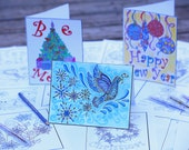 Color Your Own Holiday Cards and Christmas Digital Coloring Pages Original Art by Mariya Kovalyov