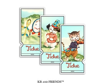 Baby shower raffle tickets / printable tickets / Hey Diddle Diddle / diaper raffle / storybook nursery rhyme theme / book themed baby shower
