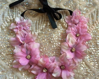 Darling Dusty Pink floral rhinestone neck piece