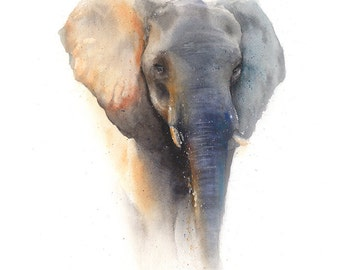 ELEPHANT ART PRINT - elephant print, watercolor elephant painting, elephant decor, elephant portrait, animal portrait, elephant lover gift