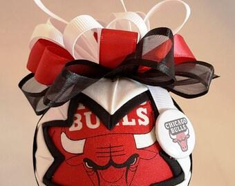 Chicago Bulls Fabric Quilted Ornaments, Fan Shop, man Cave, Sports Fans, Christmas Ornaments, Basketball, Secret Santa, Grab Bag Gifts