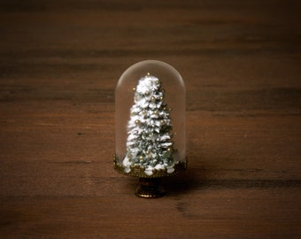 Miniature Christmas Tree under Glass Dome for Your Dollhouse