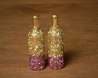 Glittering Miniature Party Bottle in Gold and Pink for your Dollhouse