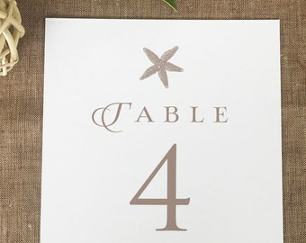Starfish Wedding Table Numbers, Beach Wedding Table Number Cards, Printed Table Numbers, Beach Destination Wedding Table Numbers