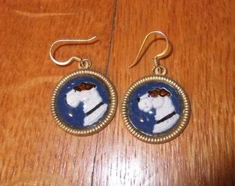 White Scottie Dog on Blue Background Reverse Painted Glass Earrings