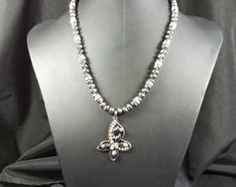 Metallic Silver Beads with Butterfly Pendant