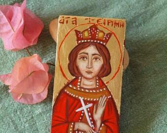 Miniature St Irene of Thessalonica- Mini Byzantine icon of  greek saint Irini eastern orthodox sacred art and iconography of Greece