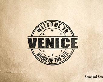 Venice Welcome Rubber Stamp - 2 x 2 inches